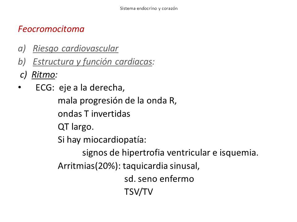 Sistema endocrino y corazón Feocromocitoma a)Riesgo cardiovascular b) Estructura y función cardiacas: c) Ritmo: ECG: eje a la derecha, mala progresión de la onda R, ondas T invertidas QT largo.