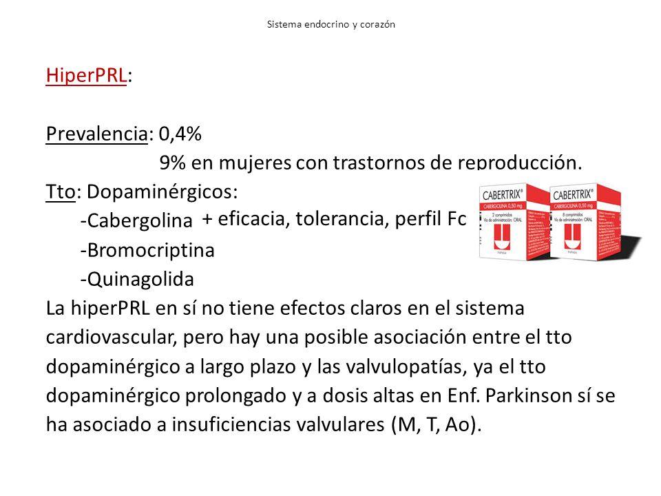 HiperPRL: Prevalencia: 0,4% 9% en mujeres con trastornos de reproducción. Tto: Dopaminérgicos: -Cabergolina -Bromocriptina -Quinagolida La hiperPRL en