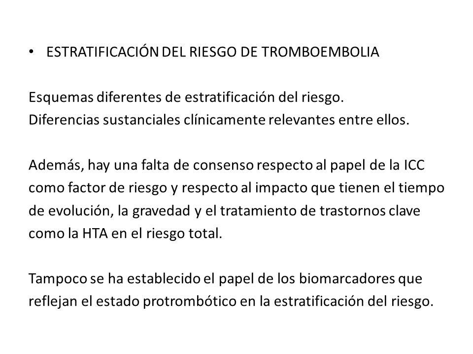 ESTRATIFICACIÓN DEL RIESGO DE TROMBOEMBOLIA Esquemas diferentes de estratificación del riesgo. Diferencias sustanciales clínicamente relevantes entre