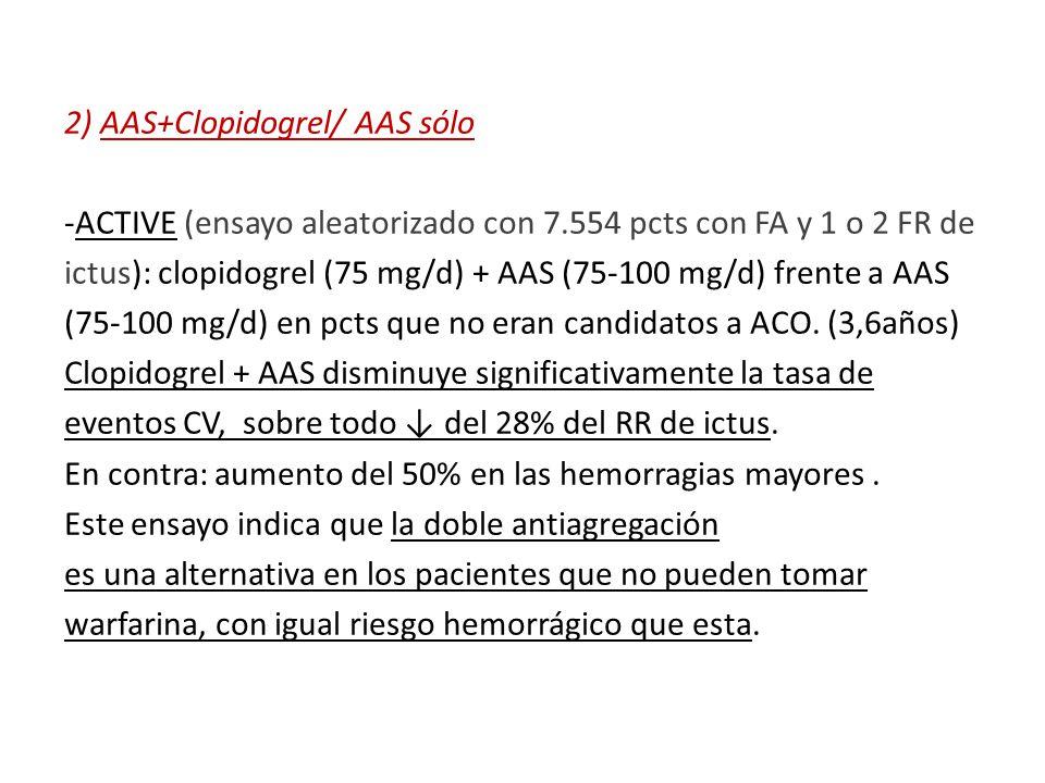 2) AAS+Clopidogrel/ AAS sólo -ACTIVE (ensayo aleatorizado con 7.554 pcts con FA y 1 o 2 FR de ictus): clopidogrel (75 mg/d) + AAS (75-100 mg/d) frente a AAS (75-100 mg/d) en pcts que no eran candidatos a ACO.