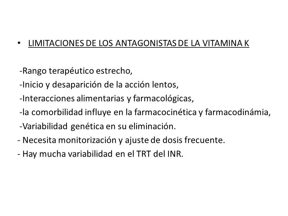 LIMITACIONES DE LOS ANTAGONISTAS DE LA VITAMINA K -Rango terapéutico estrecho, -Inicio y desaparición de la acción lentos, -Interacciones alimentarias y farmacológicas, -la comorbilidad influye en la farmacocinética y farmacodinámia, -Variabilidad genética en su eliminación.