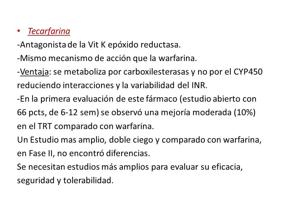 Tecarfarina -Antagonista de la Vit K epóxido reductasa. -Mismo mecanismo de acción que la warfarina. -Ventaja: se metaboliza por carboxilesterasas y n