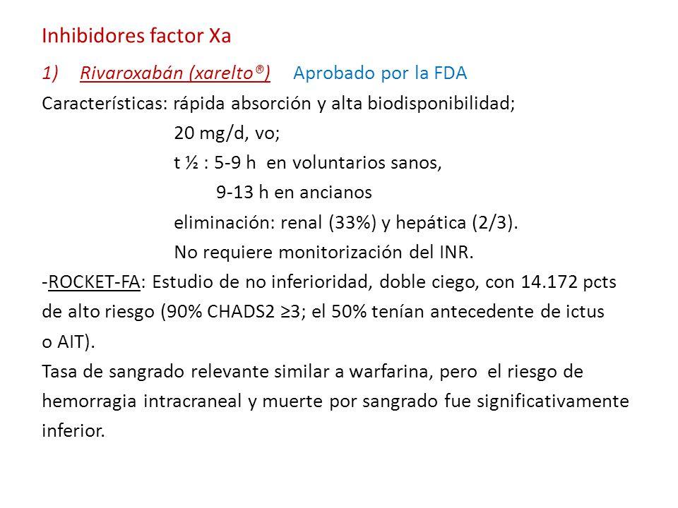Inhibidores factor Xa 1)Rivaroxabán (xarelto®) Aprobado por la FDA Características: rápida absorción y alta biodisponibilidad; 20 mg/d, vo; t ½ : 5-9 h en voluntarios sanos, 9-13 h en ancianos eliminación: renal (33%) y hepática (2/3).