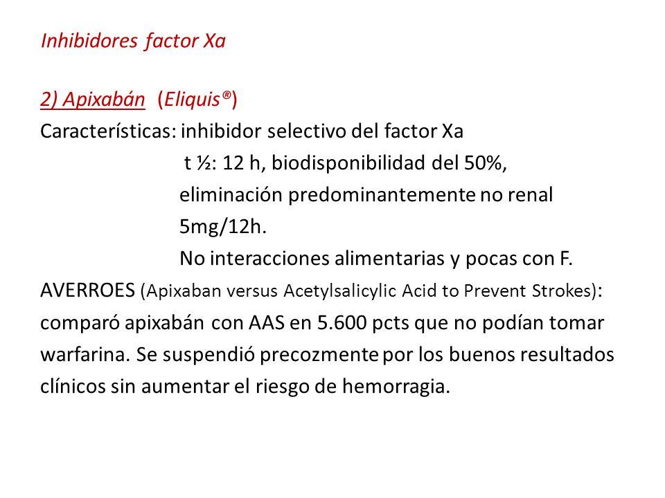 Inhibidores factor Xa 2) Apixabán (Eliquis®) Características: inhibidor selectivo del factor Xa t ½: 12 h, biodisponibilidad del 50%, eliminación predominantemente no renal 5mg/12h.