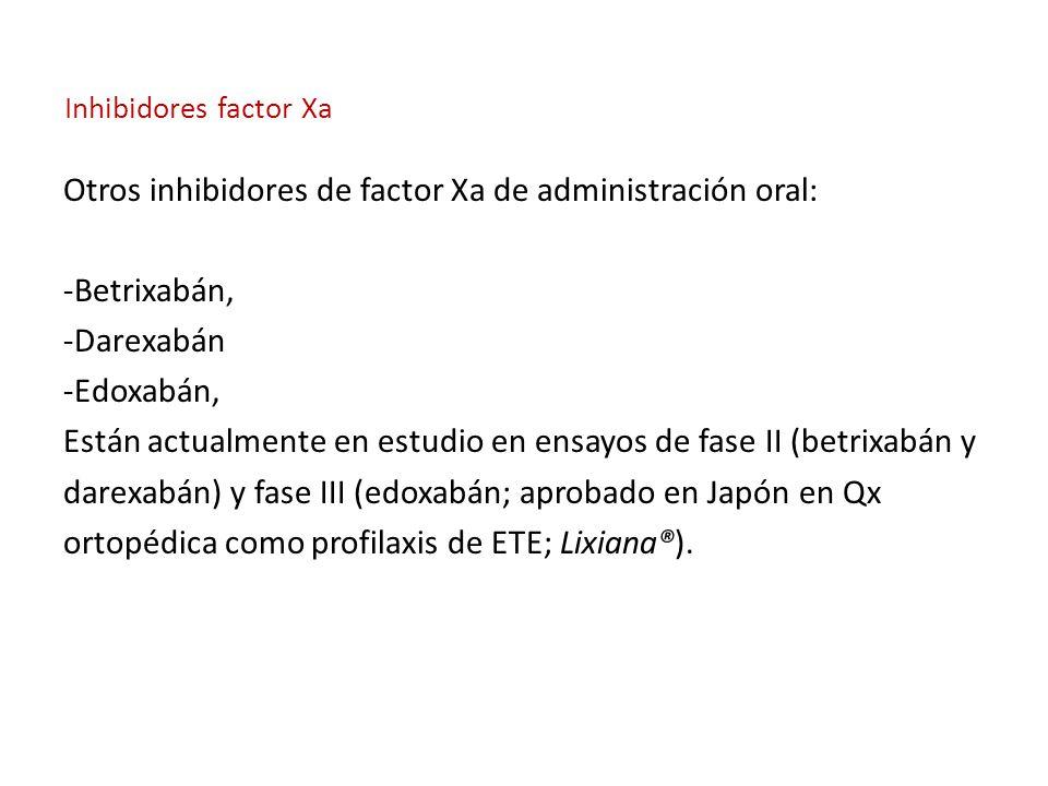 Inhibidores factor Xa Otros inhibidores de factor Xa de administración oral: -Betrixabán, -Darexabán -Edoxabán, Están actualmente en estudio en ensayos de fase II (betrixabán y darexabán) y fase III (edoxabán; aprobado en Japón en Qx ortopédica como profilaxis de ETE; Lixiana®).