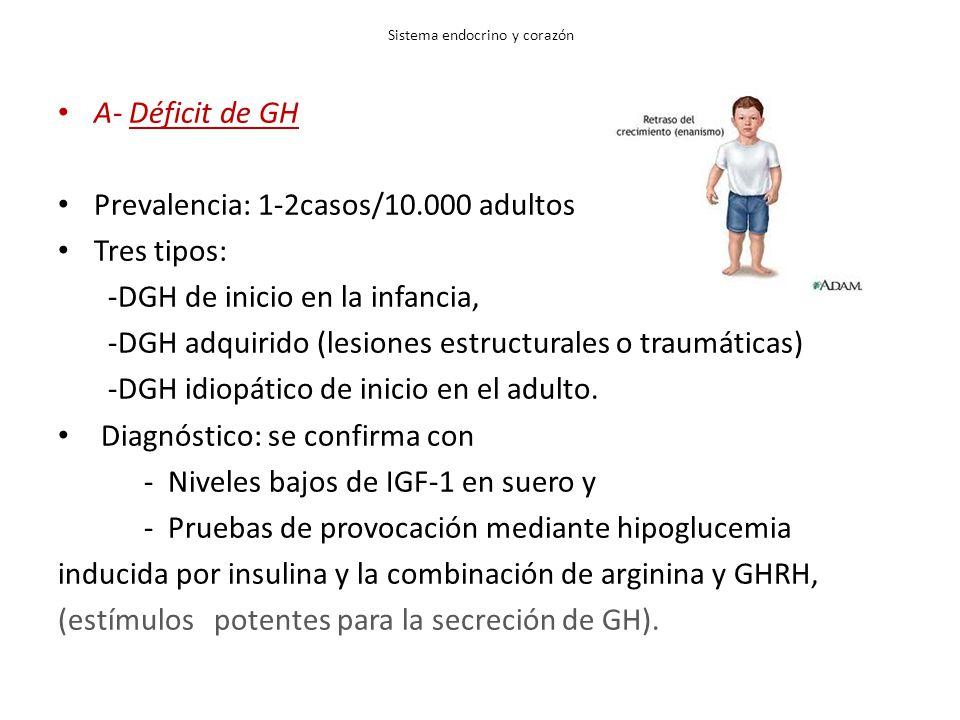 Sistema endocrino y corazón A- Déficit de GH Prevalencia: 1-2casos/10.000 adultos Tres tipos: -DGH de inicio en la infancia, -DGH adquirido (lesiones estructurales o traumáticas) -DGH idiopático de inicio en el adulto.