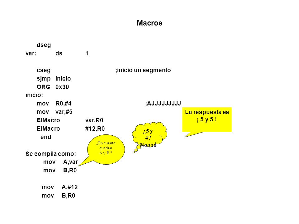MACROS Etiquetas MDELAYMACROp1,p2 LOCALlazo0,lazo1 movR1,p2 Lazo1:movR0,p1 lazo0:djnzR0,lazo0 djnzR1,lazo1 ENDM Iteraciones IncWDPTRMACRO REPT2 IncDPTR ENDM IncWDPTRMACROp1 REPTp1 IncDPTR ENDM