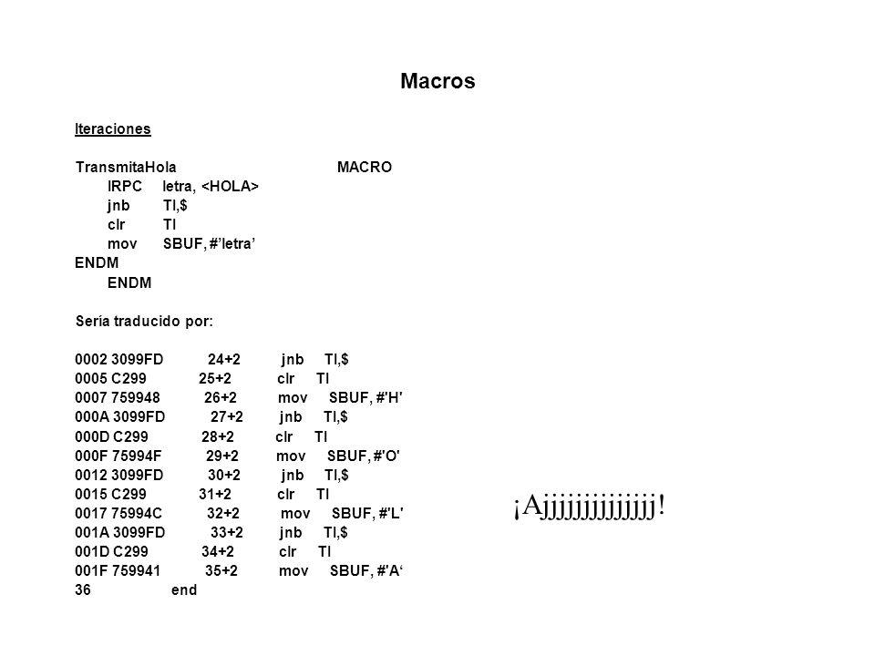 Macros Iteraciones TransmitaHolaMACRO IRPCletra, jnbTI,$ clrTI movSBUF, #letra ENDM Sería traducido por: 0002 3099FD 24+2 jnb TI,$ 0005 C299 25+2 clr TI 0007 759948 26+2 mov SBUF, # H 000A 3099FD 27+2 jnb TI,$ 000D C299 28+2 clr TI 000F 75994F 29+2 mov SBUF, # O 0012 3099FD 30+2 jnb TI,$ 0015 C299 31+2 clr TI 0017 75994C 32+2 mov SBUF, # L 001A 3099FD 33+2 jnb TI,$ 001D C299 34+2 clr TI 001F 759941 35+2 mov SBUF, # A 36 end ¡Ajjjjjjjjjjjjjj!