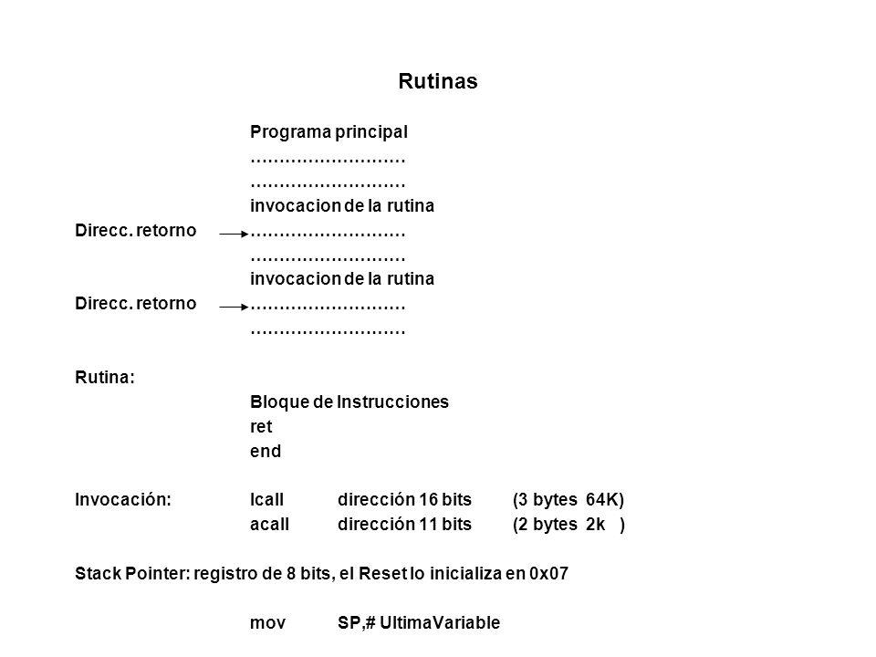 Rutinas Programa principal ……………………… invocacion de la rutina Direcc.
