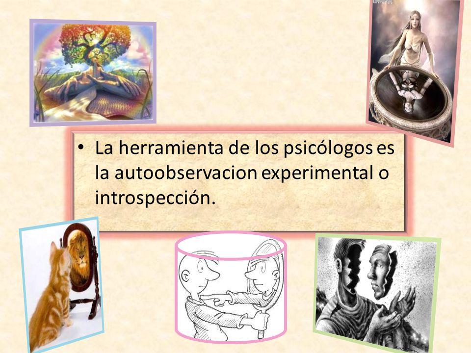 La herramienta de los psicólogos es la autoobservacion experimental o introspección.