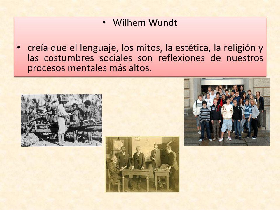 Wilhem Wundt creía que el lenguaje, los mitos, la estética, la religión y las costumbres sociales son reflexiones de nuestros procesos mentales más al