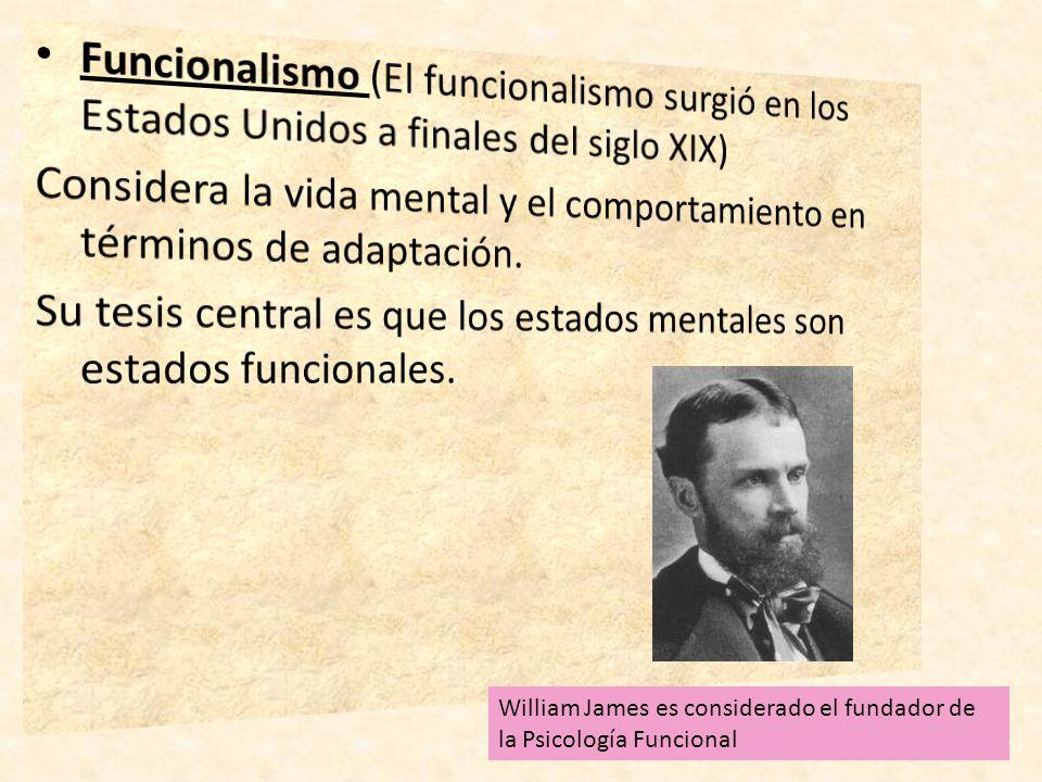 William James es considerado el fundador de la Psicología Funcional