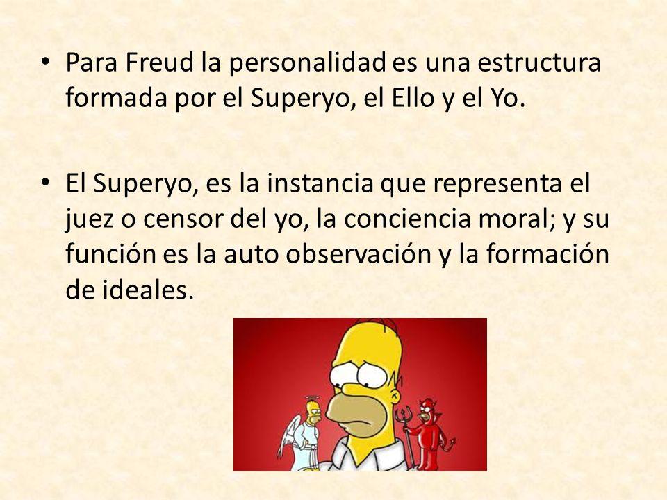 Para Freud la personalidad es una estructura formada por el Superyo, el Ello y el Yo. El Superyo, es la instancia que representa el juez o censor del