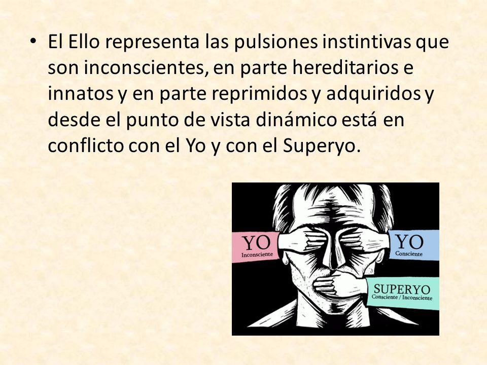 El Ello representa las pulsiones instintivas que son inconscientes, en parte hereditarios e innatos y en parte reprimidos y adquiridos y desde el punt