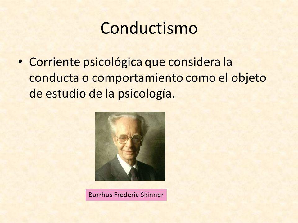 Conductismo Corriente psicológica que considera la conducta o comportamiento como el objeto de estudio de la psicología. Burrhus Frederic Skinner