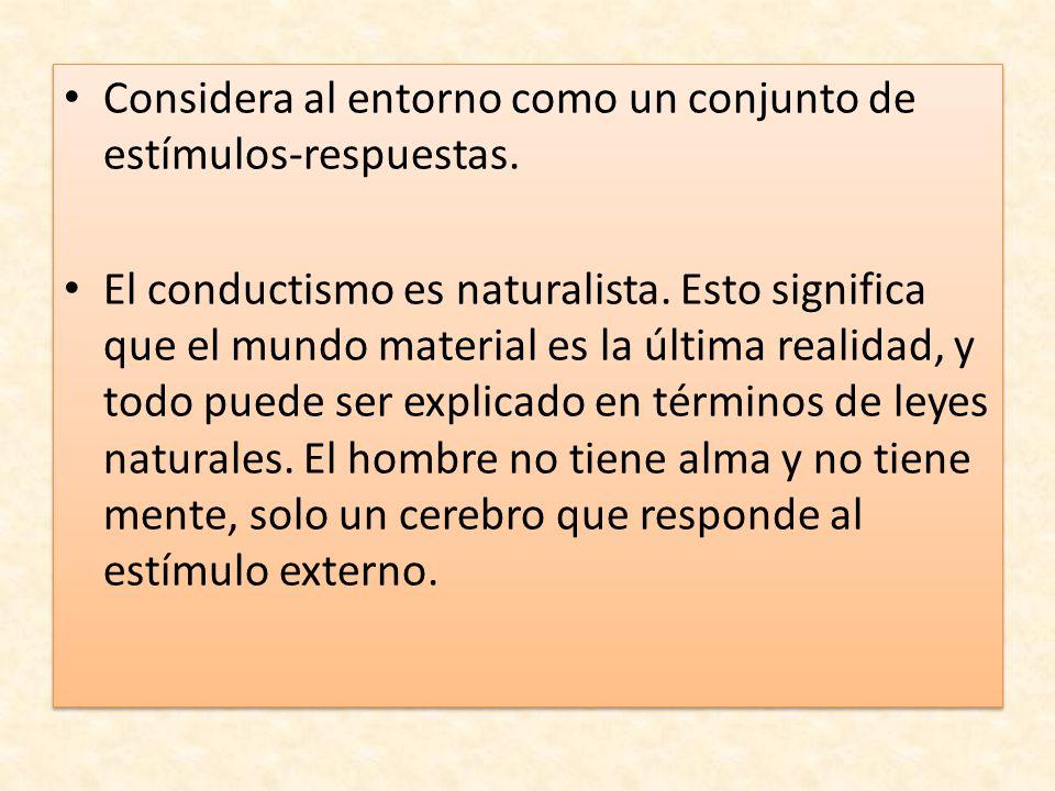 Considera al entorno como un conjunto de estímulos-respuestas. El conductismo es naturalista. Esto significa que el mundo material es la última realid