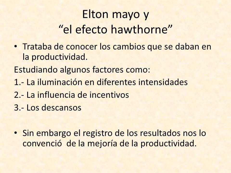 Elton mayo y el efecto hawthorne Trataba de conocer los cambios que se daban en la productividad. Estudiando algunos factores como: 1.- La iluminación