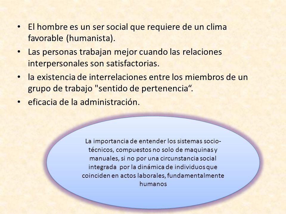 El hombre es un ser social que requiere de un clima favorable (humanista). Las personas trabajan mejor cuando las relaciones interpersonales son satis