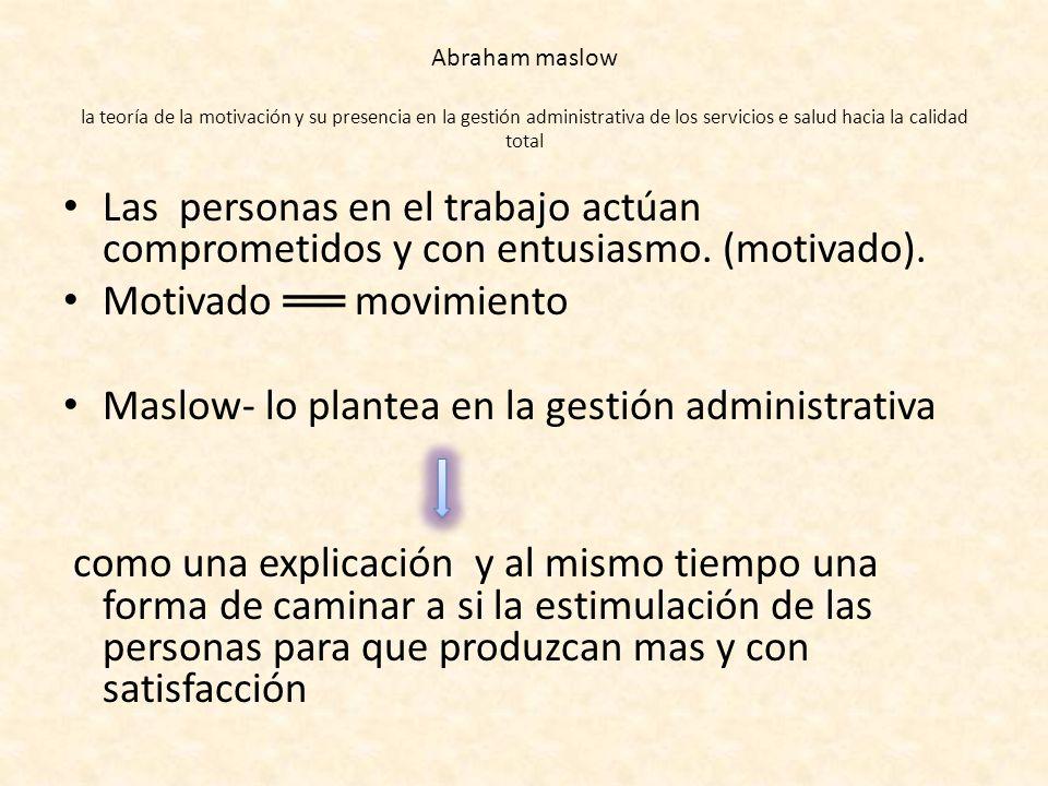 Abraham maslow la teoría de la motivación y su presencia en la gestión administrativa de los servicios e salud hacia la calidad total Las personas en