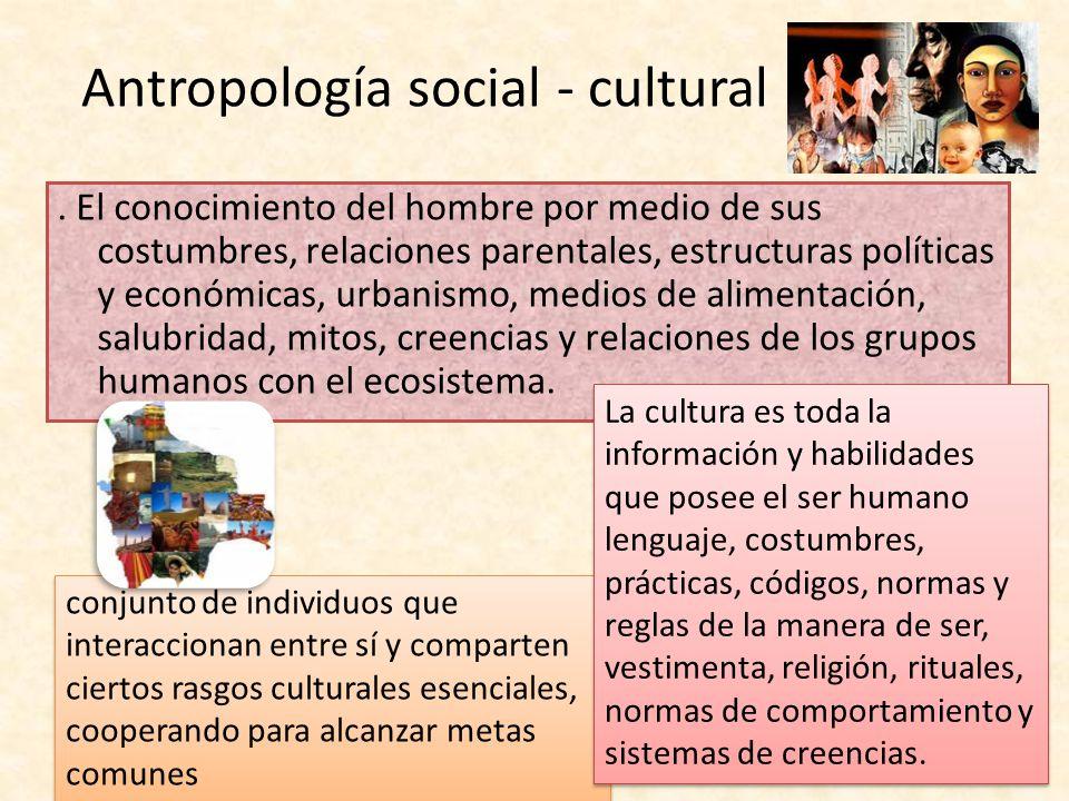 Antropología social - cultural. El conocimiento del hombre por medio de sus costumbres, relaciones parentales, estructuras políticas y económicas, urb