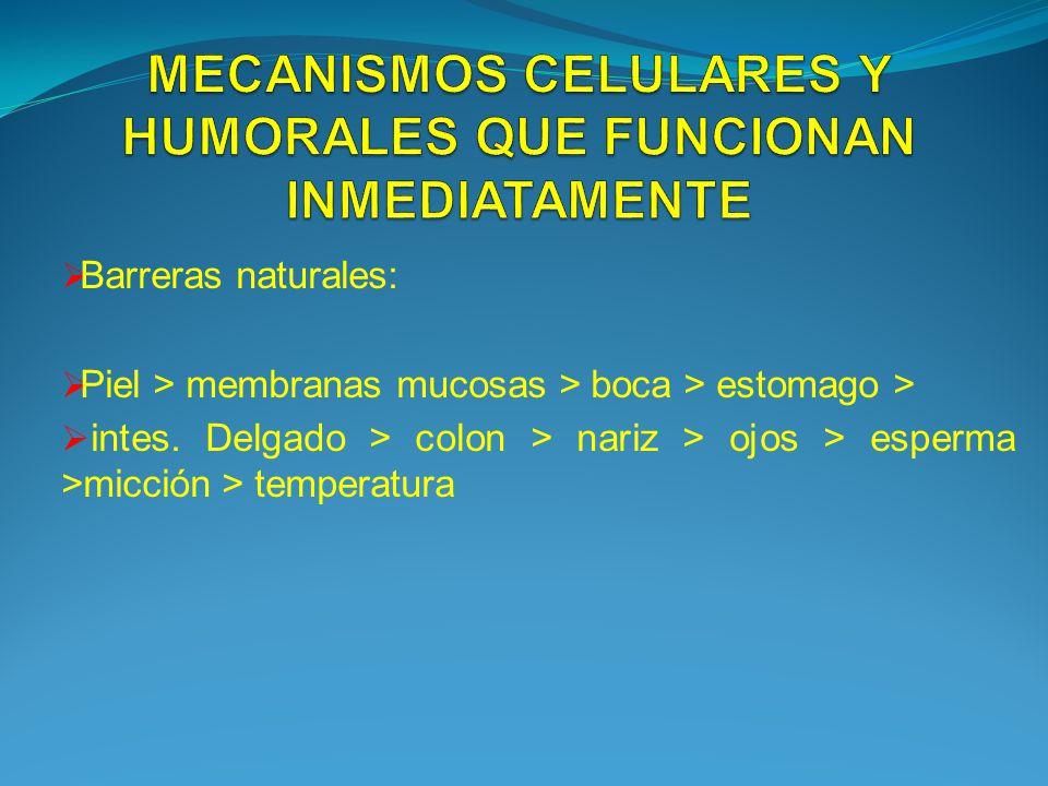 Barreras naturales: Piel > membranas mucosas > boca > estomago > intes. Delgado > colon > nariz > ojos > esperma >micción > temperatura