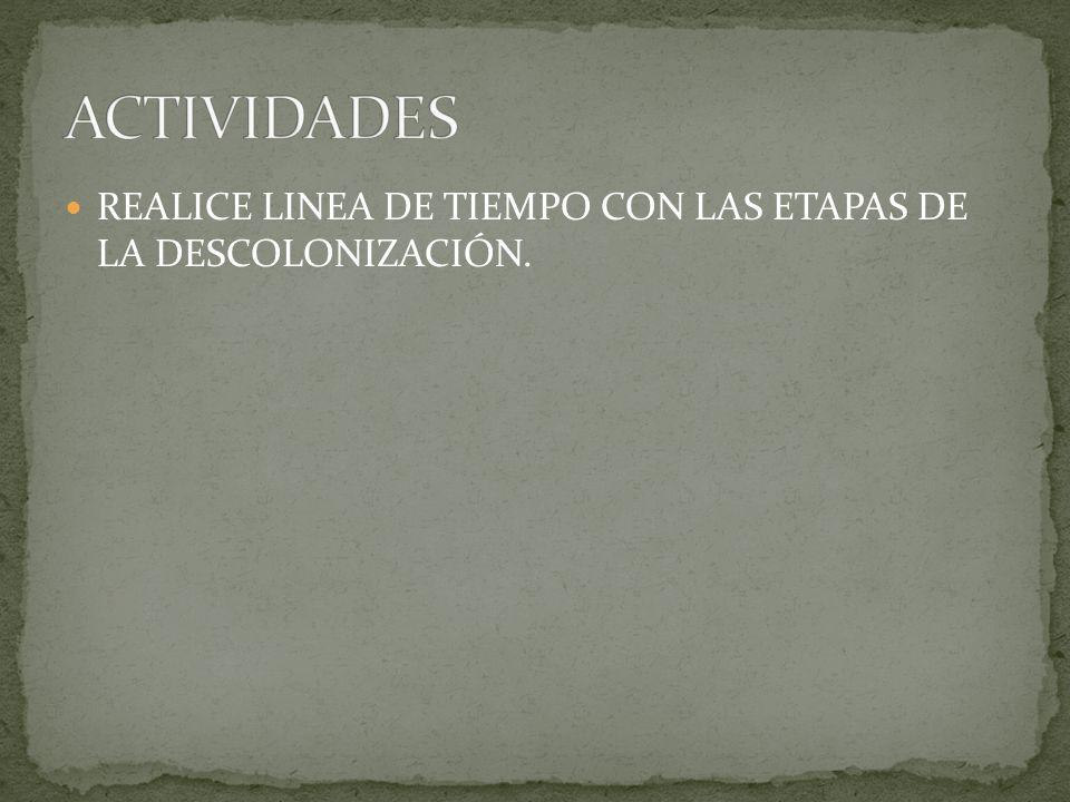 REALICE LINEA DE TIEMPO CON LAS ETAPAS DE LA DESCOLONIZACIÓN.
