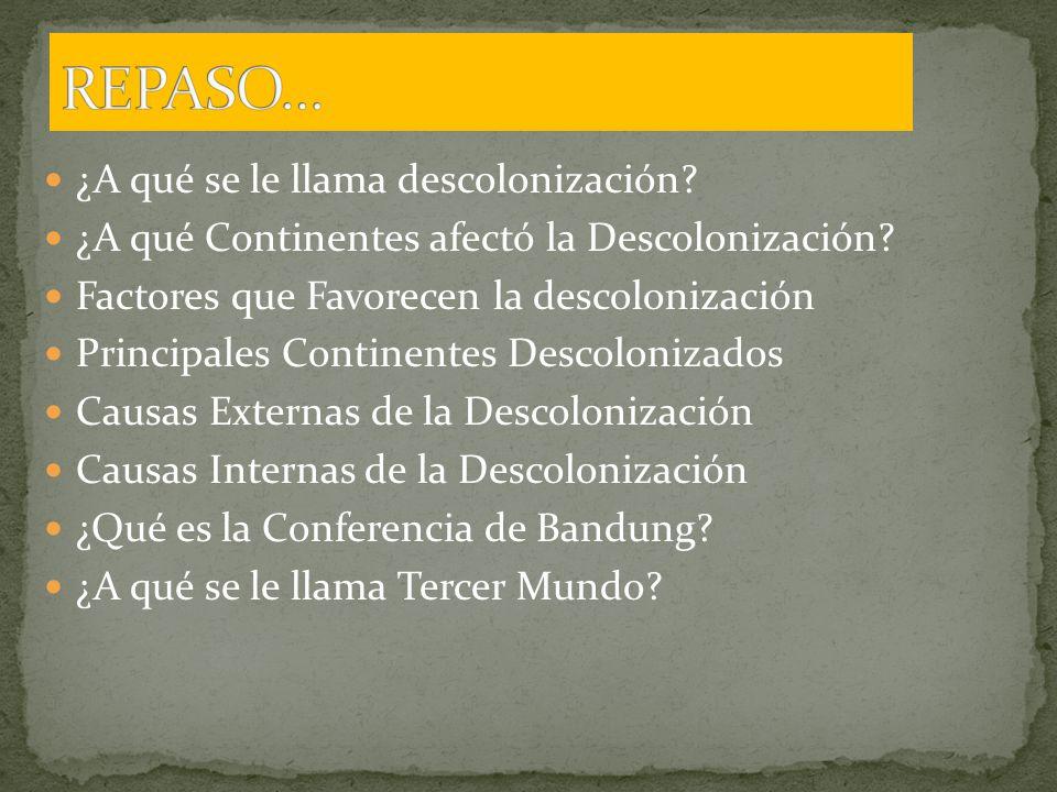 ¿A qué se le llama descolonización.¿A qué Continentes afectó la Descolonización.