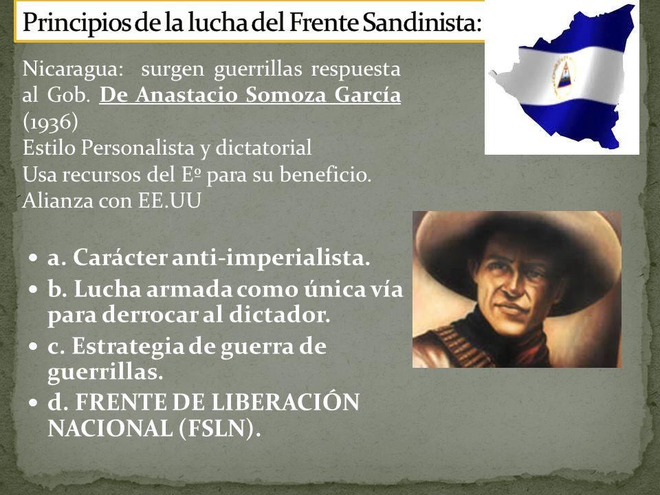 a.Carácter anti-imperialista. b. Lucha armada como única vía para derrocar al dictador.