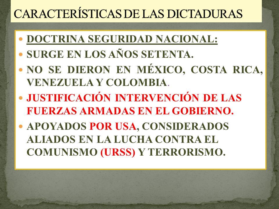 DOCTRINA SEGURIDAD NACIONAL: SURGE EN LOS AÑOS SETENTA.