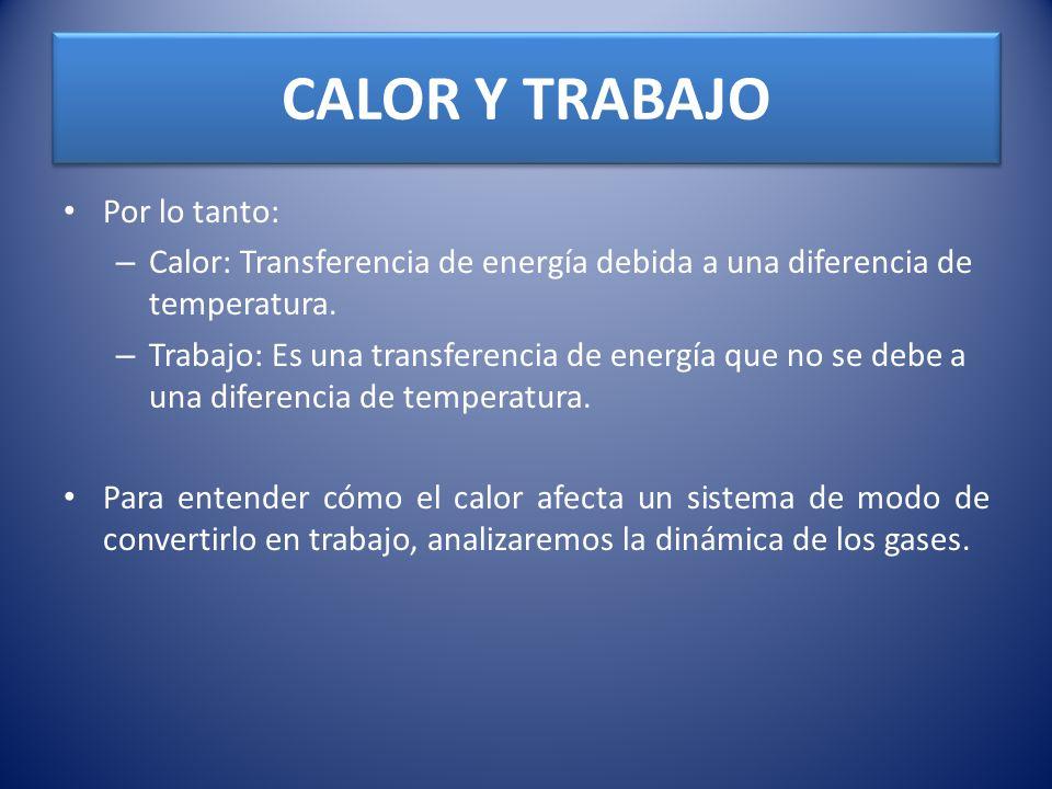 CALOR Y TRABAJO Por lo tanto: – Calor: Transferencia de energía debida a una diferencia de temperatura. – Trabajo: Es una transferencia de energía que