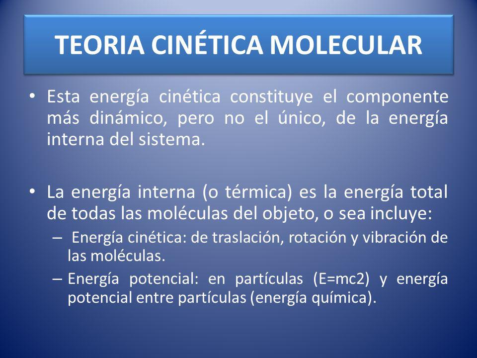 TEORIA CINÉTICA MOLECULAR Esta energía cinética constituye el componente más dinámico, pero no el único, de la energía interna del sistema. La energía