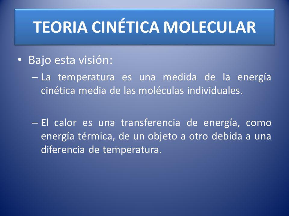 TEORIA CINÉTICA MOLECULAR Bajo esta visión: – La temperatura es una medida de la energía cinética media de las moléculas individuales. – El calor es u