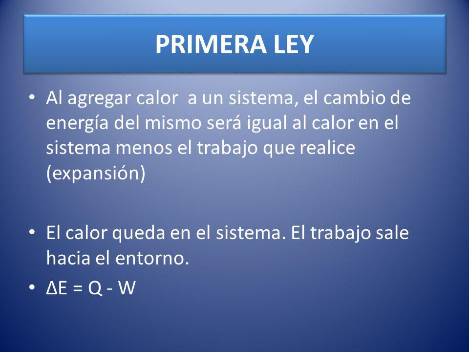 PRIMERA LEY Al agregar calor a un sistema, el cambio de energía del mismo será igual al calor en el sistema menos el trabajo que realice (expansión) E