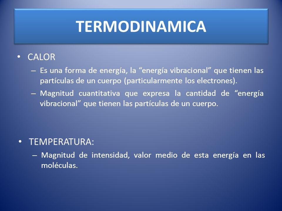 CALOR – Es una forma de energía, la energía vibracional que tienen las partículas de un cuerpo (particularmente los electrones). – Magnitud cuantitati
