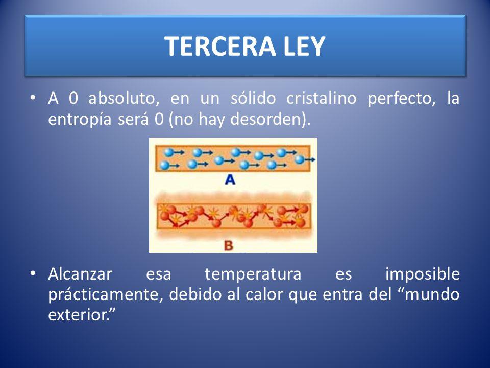 TERCERA LEY A 0 absoluto, en un sólido cristalino perfecto, la entropía será 0 (no hay desorden). Alcanzar esa temperatura es imposible prácticamente,