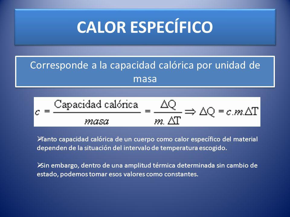 CALOR ESPECÍFICO Corresponde a la capacidad calórica por unidad de masa Tanto capacidad calórica de un cuerpo como calor específico del material depen