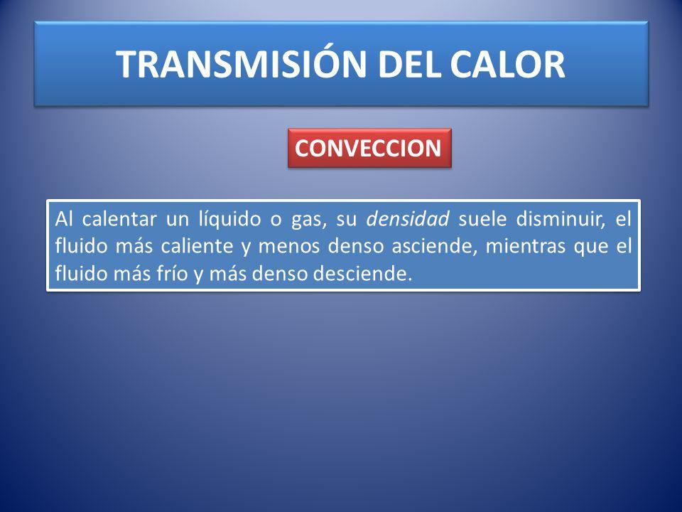 TRANSMISIÓN DEL CALOR CONVECCION Al calentar un líquido o gas, su densidad suele disminuir, el fluido más caliente y menos denso asciende, mientras qu