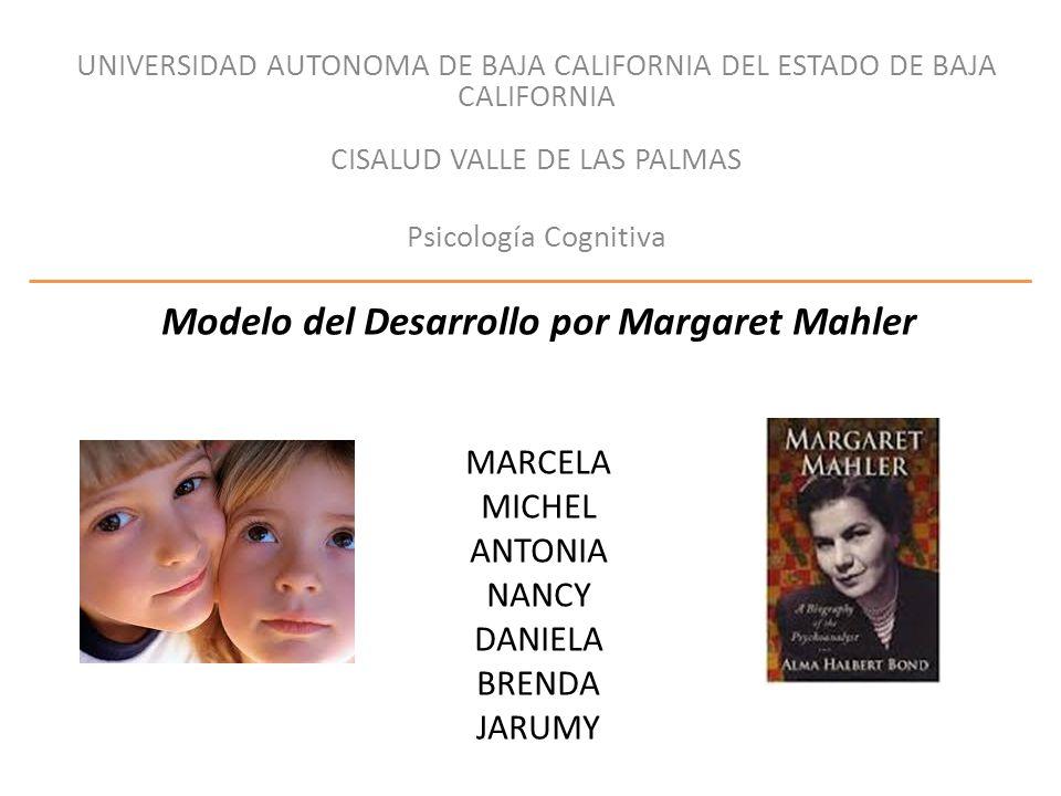 Modelo del Desarrollo por Margaret Mahler Desarrollo emocional del niño Método de razonamiento Enfermedades neurológicas Teoría de Freud Fases evolutivas de la libido Psicológicas: -Autismo -Psicosis simbiótica Separación emocional madre e hijo Diseño Objetivo -Eje psicológico -Fase del desarrollo -separación=Neurosis Tratar a psicóticos adultos