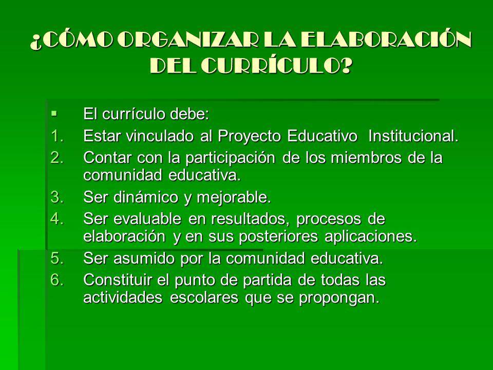 ¿CÓMO ORGANIZAR LA ELABORACIÓN DEL CURRÍCULO? El currículo debe: El currículo debe: 1.Estar vinculado al Proyecto Educativo Institucional. 2.Contar co