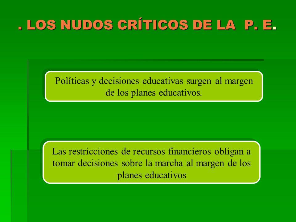 . LOS NUDOS CRÍTICOS DE LA P. E. Políticas y decisiones educativas surgen al margen de los planes educativos. Las restricciones de recursos financiero