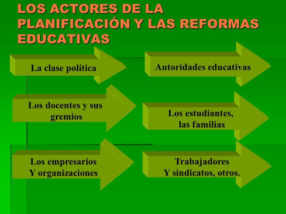 LOS ACTORES DE LA PLANIFICACIÓN Y LAS REFORMAS EDUCATIVAS La clase política Autoridades educativas Los docentes y sus gremios Los estudiantes, las fam