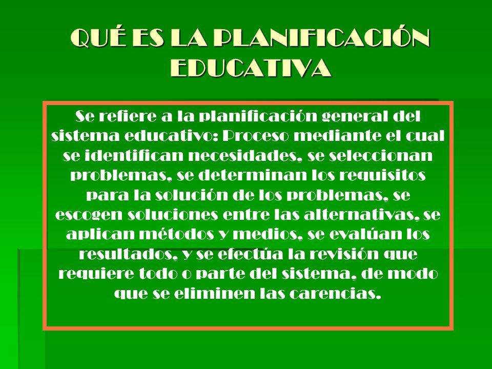 QUÉ ES LA PLANIFICACIÓN EDUCATIVA Se refiere a la planificación general del sistema educativo: Proceso mediante el cual se identifican necesidades, se