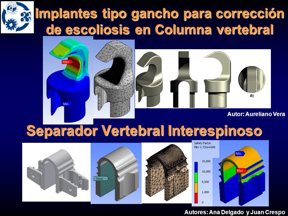 Separador Vertebral Interespinoso Autor: Aureliano Vera Autores: Ana Delgado y Juan Crespo Implantes tipo gancho para corrección de escoliosis en Colu