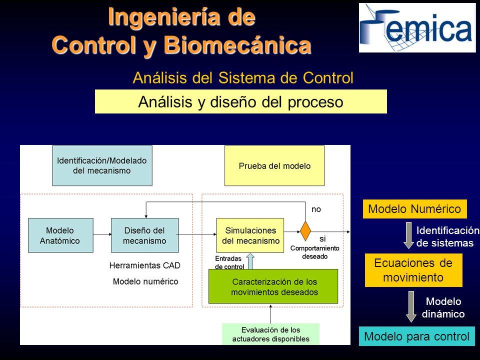 Análisis del Sistema de Control Modelo Numérico Ecuaciones de movimiento Modelo para control Análisis y diseño del proceso Ingeniería de Control y Bio