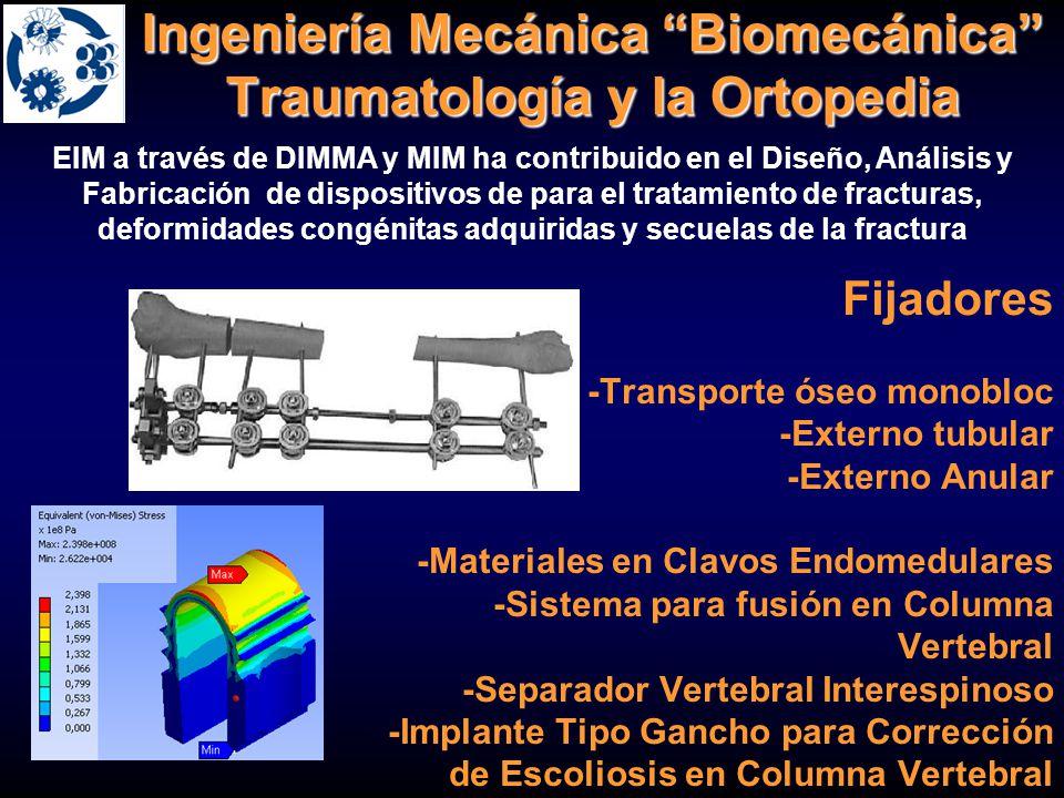 Ingeniería Mecánica Biomecánica Traumatología y la Ortopedia EIM a través de DIMMA y MIM ha contribuido en el Diseño, Análisis y Fabricación de dispos