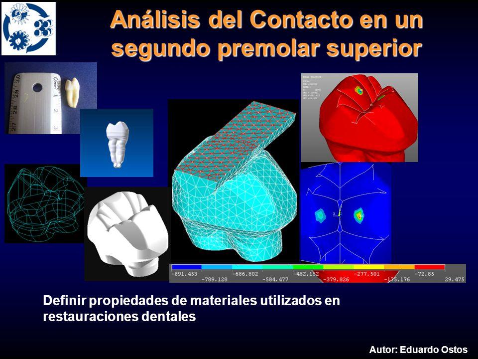 Definir propiedades de materiales utilizados en restauraciones dentales Análisis del Contacto en un segundo premolar superior Autor: Eduardo Ostos
