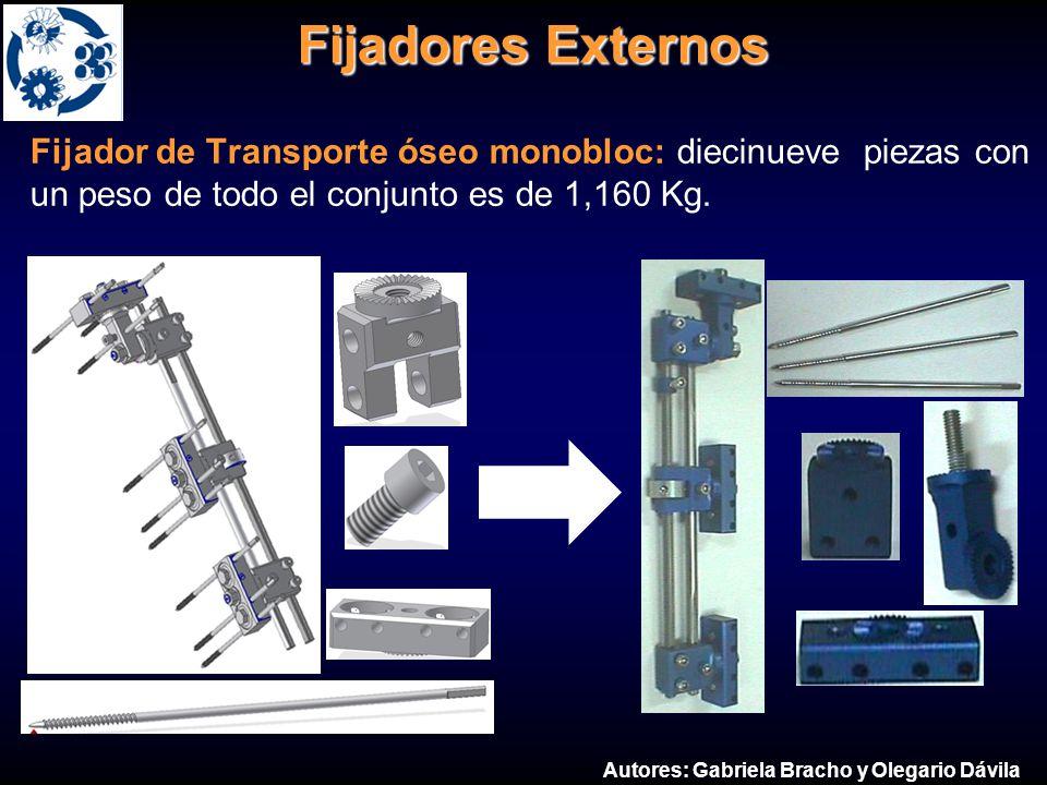 Fijadores Externos Fijador de Transporte óseo monobloc: diecinueve piezas con un peso de todo el conjunto es de 1,160 Kg. Autores: Gabriela Bracho y O