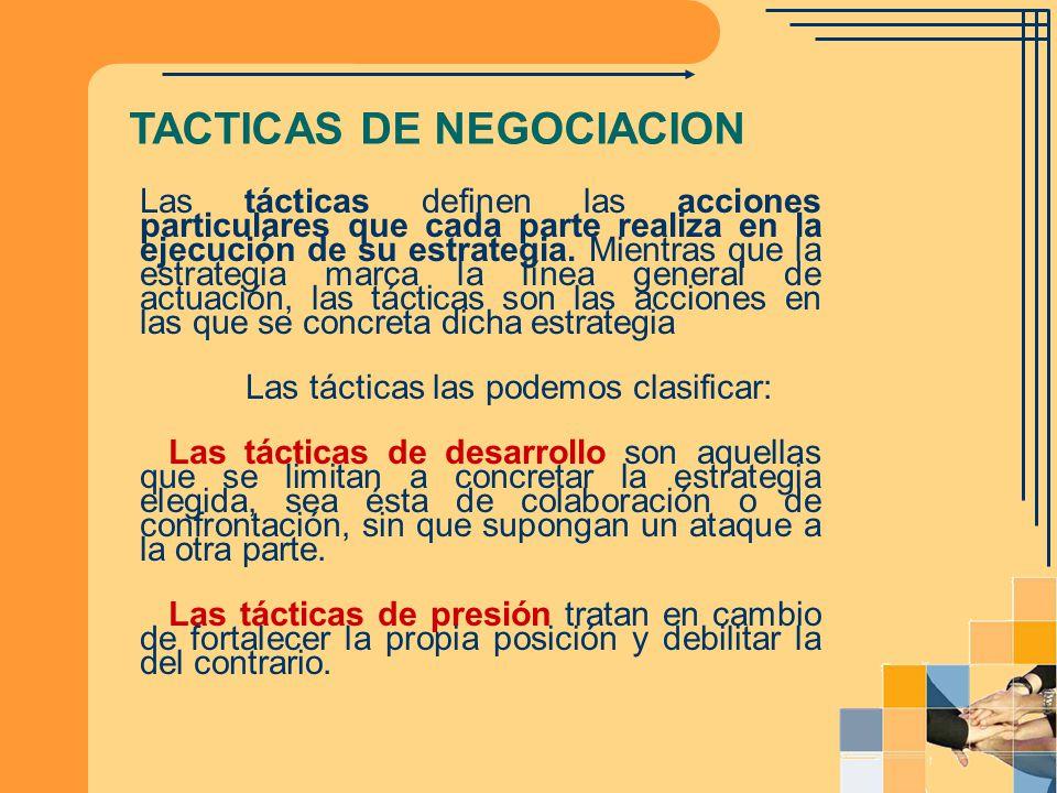 Las tácticas definen las acciones particulares que cada parte realiza en la ejecución de su estrategia. Mientras que la estrategia marca la línea gene