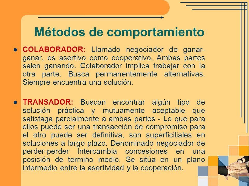 Métodos de comportamiento COLABORADOR: Llamado negociador de ganar- ganar, es asertivo como cooperativo. Ambas partes salen ganando. Colaborador impli