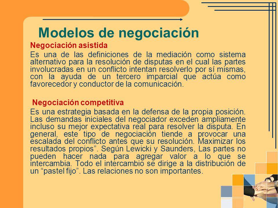 Modelos de negociación Negociación asistida Es una de las definiciones de la mediación como sistema alternativo para la resolución de disputas en el c